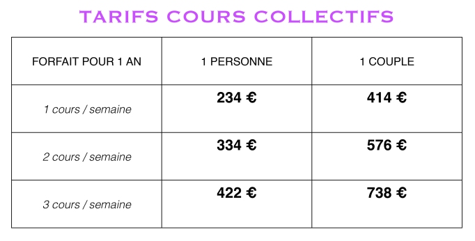 TARIFS COURS COLLECTIFS 19